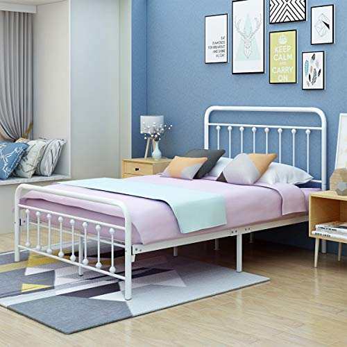 AUFANK Metal Bed Frame Full Size Victorian Vintage Style Headboard and Footboard No Box Spring Heavy Duty Steel Slat Mattress Foundation White