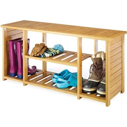 Shoes Storage Rack Organizer Compact Wood Design Bench, Tan by Whitmor Shoes Organizer