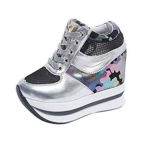 Women's Anti-Slip Height Increasing Footwear Casual Ladies High Platform Loafer Single Walking Shoes (US:7(RU/EU/CN39), Sliver)