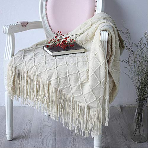 (LAGHCAT Throw Blanket for Couch Beige Diamond Pattern Blanket Cross Woven Throws Christmas Knitted Blankets with Decorative Fringe - 50