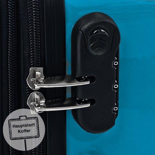 HAUPTSTADTKOFFER® 119 Liter Hartschalen Koffer · (75 x 52 x 32 cm) · Hochglanz · Zahlenschloss · CYAN BLAU