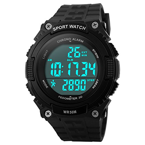 LIGE-Skmei Men's Digital Electronic Sports Watch with Pedometer,LED Screen Large Face and Waterproof Casual Backlight Watch Black (Function Digital Pedometer)
