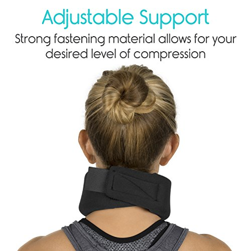Neck Brace by Vive - Cervical Collar - Adjustable Soft Support Collar Can Be Used During Sleep - Wraps Aligns & Stabilizes Vertebrae - Relieves Pain & Pressure in Spine (Thin, Black) by VIVE (Image #6)