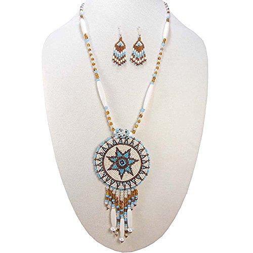 Modern Beaded Necklace Earrings - 9