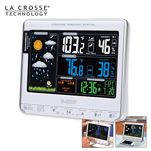 La Crosse Technology 308-1412S Color LCD Wireless Weather Station with USB Charging Port and Customizable Temperature ()