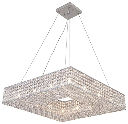 Twelve Light Crystal Pendant - Deluxe Lamp Square Crystal Shade Chandelier, 12 Light, Diameter 24''