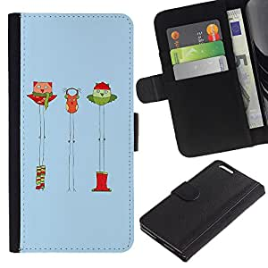 KingStore / Leather Etui en cuir / Apple Iphone 6 PLUS 5.5 / Navidad Invierno divertido de la historieta