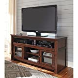 "Ashley Harpan W797-38 60"" TV Stand Rta Including 4 Shelves and 2 Doors with Adjustable Shelf Hole(s) for Wiring and Molding Detail in Reddish"