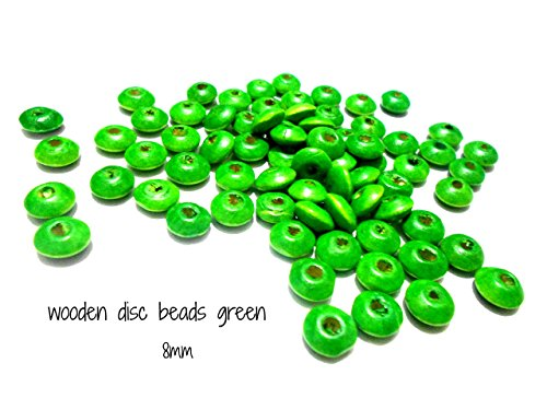 GOELX Disc Wooden Beads Green For Jewellery Making/ Crafts/ Hangings- Pack Of (Green Wooden Beads)