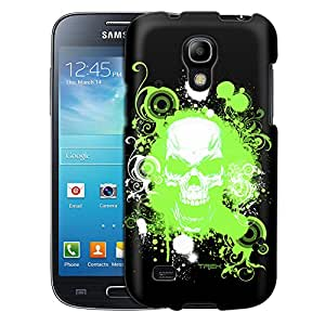 Samsung Galaxy S4 Mini Case, Slim Fit Snap On Cover by Trek Green Skull on Black Case
