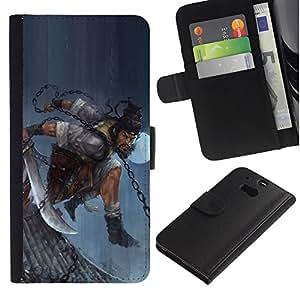 YiPhone /// Tirón de la caja Cartera de cuero con ranuras para tarjetas - ASIÁTICO GUERRERO HOMBRE - HTC One M8
