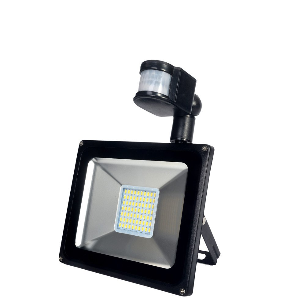 SMD PIR Motion LED Flood Light Waterproof 50W 110V 2800-3200K Warm White 2PCs