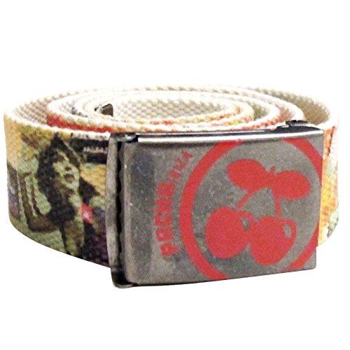Pacha Flower Power Webbed Belt - Red, One Size - Flower Power Fashion Belt
