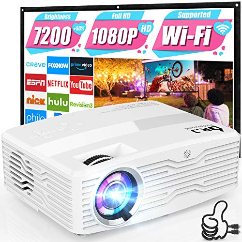 5G WiFi Projector, Full HD Native 1080P 4K Projector 7500Lumens LCD Projector for Outdoor Movies, Wireless Mirroring/4K…