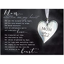 Mom Pewter Memorial Heart Boxed Gift Ornament with Sentimental Poem