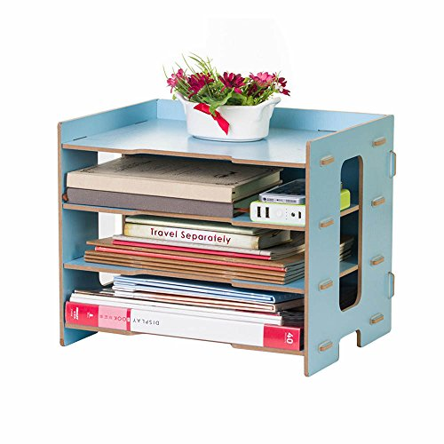 Blue Rustic Desk (YUMU Rustic Wood Bookshelf Desk Organization for File Folders File Organizer 4 Layers DH1044-02)
