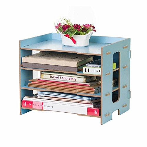 YUMU Rustic Wood Bookshelf Desk Organization for File Folders File Organizer 4 Layers DH1044-02