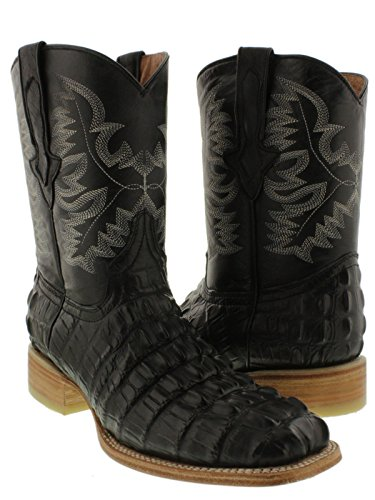 El Presidente - Men's Black Crocodile Tail Cowboy Boots Natural Sole Square Toe 12 D by El Presidente