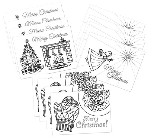 colorable christmas cards 3 different designs set of 12 cards