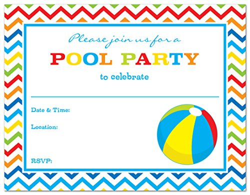 24 Pool Party Beach Ball Fill-in Kids Birthday Party (Beach Ball Birthday Invitations)