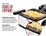 Chefman Deep Fryer with Basket Strainer Perfect for Chicken, Shrimp, French Fries and More Removable Oil Container and Rotary Knob for Adjusting The Temperature, Stainless Steel, 4.5 Liter