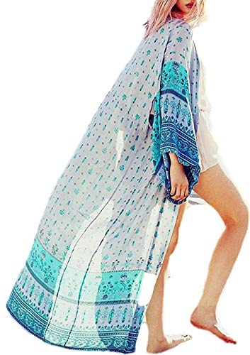 Women's Summer Floral Flowy Cardigan Long Bikini Kimono Cover Up Open Front Sheer Tops (Light-Blue-Grey)