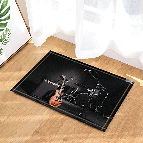 Music Shower Decor Grunge Concert Instruments Guitar and Drum in Black Bath Rugs Non-Slip Doormat Floor Entryways Indoor Front Door Mat Kids Bath Mat 15.7x23.6in Bathroom Accessories ()