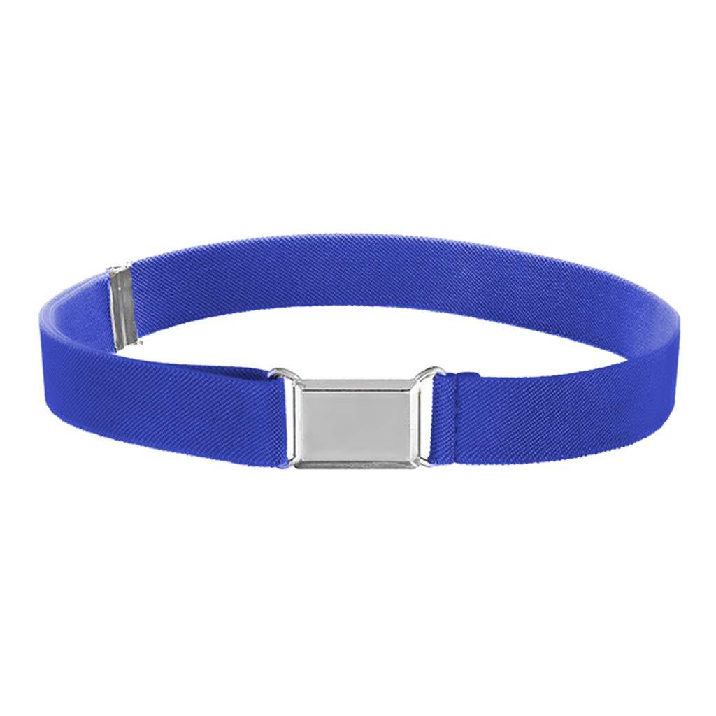 B2keevin Kids Toddler Belt Elastic Adjustable Stretch Unisex Belts Silver Square Buckle