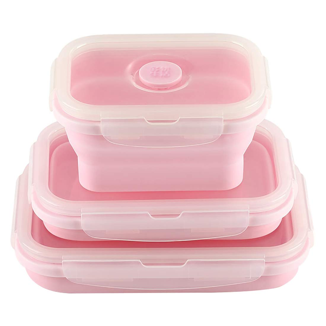 Duoyou Collapsible Silicone Lunch Bento Box, Portable Food Storage Container Outdoor Picnic Box Space Saving, Microwave, Dishwasher and Freezer Safe, 3 Pcs Set