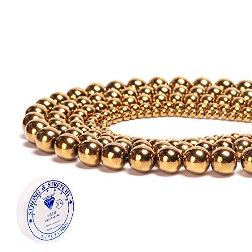 Hematite Natural Stone Round Loose Beads Semi Gemstone Healing Power Energy Stone for Jewelry Making DIY Necklace Bracelet Making Strand 15.5 (Gold-Hematite x 2 Strands per Bag, 4mm)