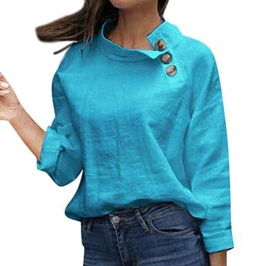 Damen Sommer Langarm T-Shirt Somnner Oberteile Freizeithemd Tunika Loss Hemden