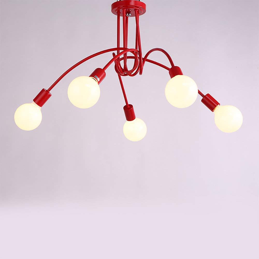 l/ámpara retro creativa de iluminaci/ón E27 Industrial color rojo Plaf/ón de 5 luces de metal vintage para l/ámpara de techo LED