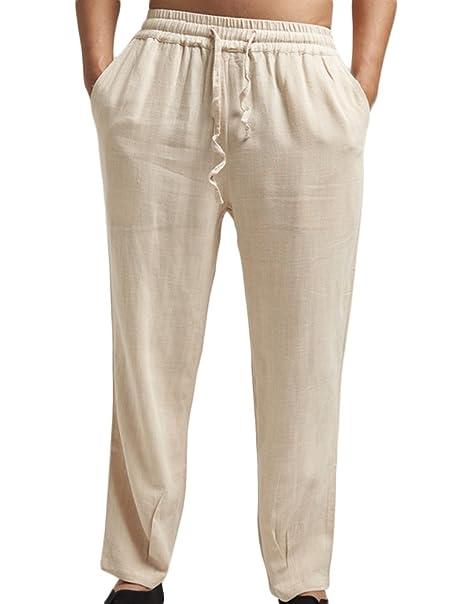 8b20c8555e6d Insun Pantaloni Uomo Sportivi Pantalone Casual Lino Pantaloni Estivi:  Amazon.it: Abbigliamento
