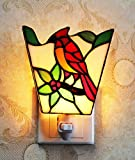 Makenier Tiffany Style Stained Glass Red Parrot Small Wall Lamp Night Light