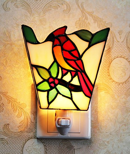 Makenier Tiffany Style Stained Glass Red Parrot Small Wall Lamp Night Light by Makenier