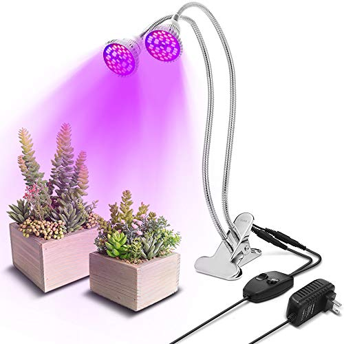 SOLMORE LED Grow Light Blub, 60W Dual Head Plant Grow Light with Double Switch and 360 Degree Flexible Gooseneck Plant Light for Indoor Plants Greenhouse Hydroponics Sprouted Plant Growing
