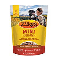 Zuke'S Mini Naturals - Invitaciones para perros con receta de mantequilla de maní y avena - 6 oz. Bolsa