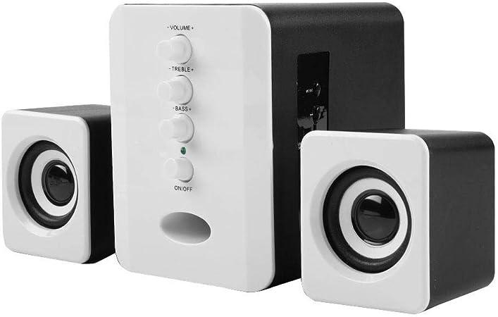 Altavoz Bluetooth para computadora, Altavoz inalámbrico 2.1 para PC con Sonido estéreo Fuerte, Tarjeta TF incorporada + Decodificador de Disco U, Computadora portátil/Notebook/TV(Negro + Blanco): Amazon.es: Hogar