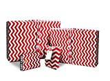 Gift Wrap Pack - Stretchy Fabric, Reusable and Eco Friendly - Red & White Chevron/Polka Dots (4 Pack 1 Small, 1 Medium, 2 Gift Card Holders with 2 FREE Gift Tags)