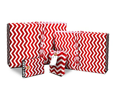 Gift Wrap Pack - Stretchy Fabric, Reusable and Eco Friendly - Red & White Chevron/Polka Dots (4 Pack 1 Small, 1 Medium, 2 Gift Card Holders with 2 FREE Gift Tags) by WRAPEEZ