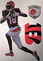 "A.J. Green Mini FATHEAD + Cincinnati Bengals Logo + Bonus Shield: Total of 3 Official NFL Vinyl Wall Graphics 7"" INCH"