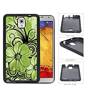 Pretty Floral Abstract Art (GREEN) Samsung Galaxy Note III 3 N9000 Rubber Silicone TPU Cell Phone Case