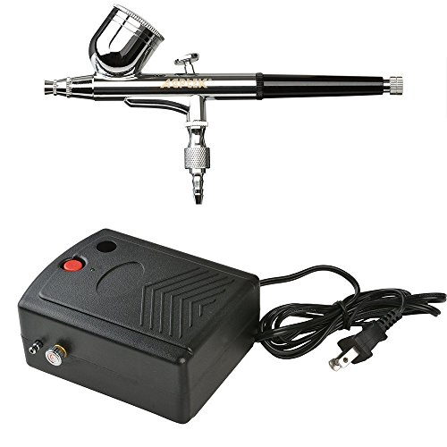 AGPtek AB22 Portable Set, Multi-Purpose Precision Dual-Action Gravity Feed 0.3mm Nozzle Airbrush Kit with Mini Compressor,A 5 Feet Air Hose, a, 22.518.513cm, (Best Airbrush Kit With Minis)