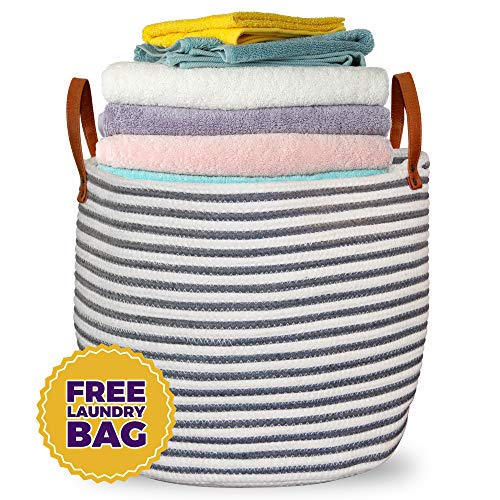 Belvedere Home Large Cotton Rope Basket - Home Décor Storage Baskets and Organizer for Baby Nursery, Bedroom, Laundry or Bath. Decorative Woven Basket + Laundry Bag ()