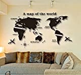 Ning store Small Size Removable DIY Acrylic Mirror Wall Sticker a Map of the World Mirror Wall Sticker Living Room Bedroom Wall Decor (Black) Picture