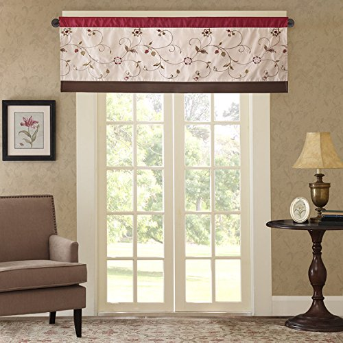 "Madison Park Belle Embroidered Floral Polyester Window Valance, 50 ""x 18 "" For Sale"