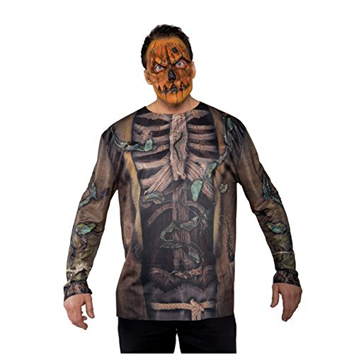 Zombie Scarecrow Mask (Underwraps Men's Scarecrow Mask, Orange, One Size)