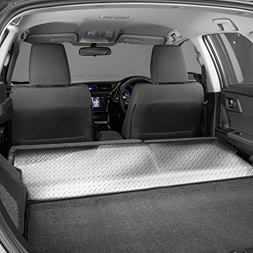 (Intro-Tech TO-830-DP Diamond Plate Cargo Area Custom Floor Mat for Select Toyota Prius Prime Models w/Bench Down; Bench Cover - Simulated Aluminum, Medium, Silver )