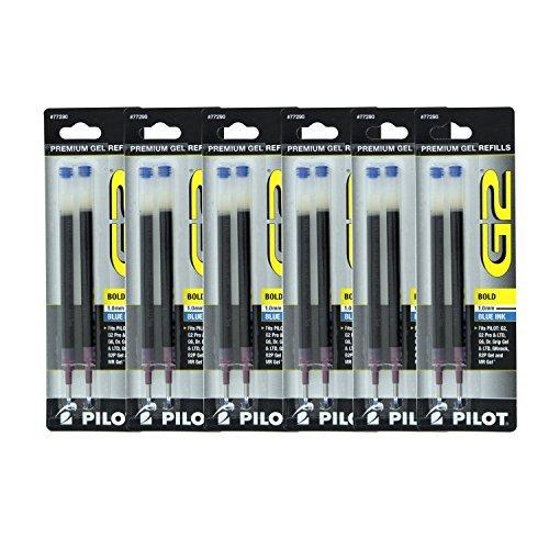 Pilot G2, Dr. Grip Gel/Ltd, ExecuGel G6, Q7 Rollerball Gel Ink Pen Refills, 1.0mm, Bold Point, Blue Ink, Pack of - Bold Point Refill