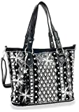 HX Dazzling Rhinestone Bling Messenger Shoulder Bag Tote Purse Black